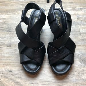 Cole haan nike Air Black Wedge Sandals strappy